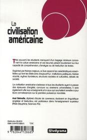 La civilisation américaine - 4ème de couverture - Format classique