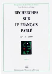 Recherches sur le francais parle 15 - Couverture - Format classique