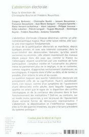 L'abstention electorale - 4ème de couverture - Format classique