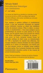 Introduction historique aux institutions ; IV-XVIII siècle (édition 2010) - 4ème de couverture - Format classique