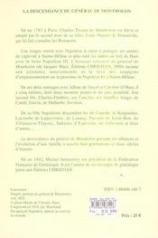 La descendance du général de montholon - 4ème de couverture - Format classique