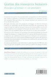 Gestion Des Ressources Humaines. Principes Généraux Et Cas Pratiques - 4ème de couverture - Format classique