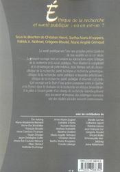 Ethique de la recherche et sante publique : ou en est-on ? - 1ere edition - 4ème de couverture - Format classique