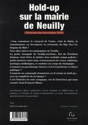 Hold-up sur la mairie de Neuilly ; chronique des municipales 2008 - 4ème de couverture - Format classique