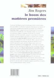 Le boom des matieres premieres - 4ème de couverture - Format classique
