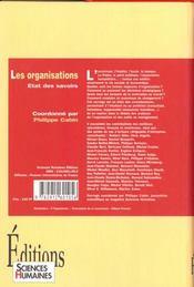 Les Organisations : Etat Des Savoirs - 4ème de couverture - Format classique