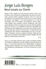 Neuf essais sur Dante - 4ème de couverture - Format classique