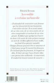 Accessible A Certaine Melancolie - 4ème de couverture - Format classique