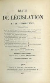 REVUE DE LÉGISLATION ET DE JURISPRUDENCE; 13ème année, Nouvelle coll., Année 1847, t. III (septembre - décembre 1847) - Couverture - Format classique