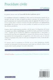 Procedure Civile ; 12e Edition - 4ème de couverture - Format classique