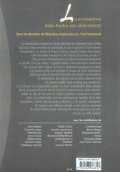 La transaction dans toutes ses dimensions - 1ere edition - 4ème de couverture - Format classique
