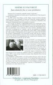Misere Et Pauvrete ; Sans Domicile Fixe Et Sous Proletaires - 4ème de couverture - Format classique