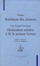 Sentiments Des Citoyens - Couverture - Format classique