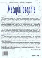 Metaphilosophie - 4ème de couverture - Format classique
