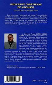 Université chrétienne de kinshasa ; historique et perspectives - 4ème de couverture - Format classique