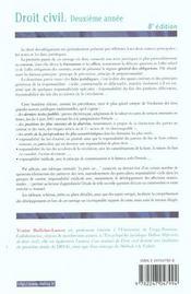 Droit Civil 2e Annee ; 8e Edition - 4ème de couverture - Format classique