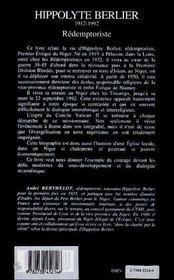 Hippolyte Berlier, rédemptoriste ; premier évèque du Niger en terre d'islam - 4ème de couverture - Format classique