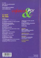 Enfances Et Psy N.20 ; Le Souci Du Corps - 4ème de couverture - Format classique