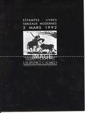 ESTAMPES. LIVRES ILLUSTRES ET TABLEAUX MODERNES. COLLECTION DE M.S.BARUQUE. [CASSIGNEUL. DEGAS. JOUJITA. MIRO. SOULAGES. PICASSO. BOLIN. CHAISSAC. LHOTE. MALKNECHT ]. 02/03/1992. (Poids de 96 grammes) - Intérieur - Format classique