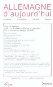 REVUE ALLEMAGNE D'AUJOURD'HUI T.173 ; lieux de mémoire dans les nouveaux lander allemands - Intérieur - Format classique