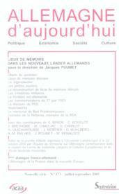 REVUE ALLEMAGNE D'AUJOURD'HUI T.173 ; lieux de mémoire dans les nouveaux lander allemands - Couverture - Format classique