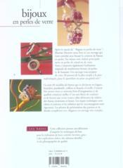 Bijoux En Perles De Verre - 4ème de couverture - Format classique