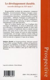 Le développement durable, nouvelle idéologie du XXI siècle ? - 4ème de couverture - Format classique