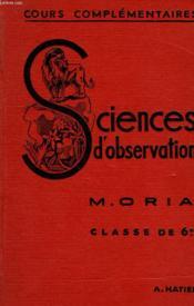 SCIENCES D'OBSERVATION, ZOOLOGIE, BOTANIQUE, CLASSE DE 6e - Couverture - Format classique