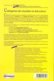 Obligation de resultat en education - 4ème de couverture - Format classique