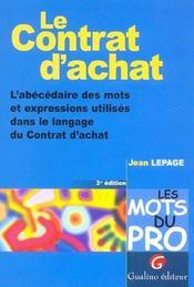 Les mots du pro - le contrat d'achat (3e édition) - Intérieur - Format classique