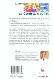 Les mots du pro - le contrat d'achat (3e édition) - 4ème de couverture - Format classique