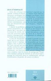 Lieux d'hospitalité ; hospices, hopital, hostellerie - 4ème de couverture - Format classique