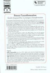 Penser l'autoformation societe d'aujourd'hui et pratiques d'autoformation - 4ème de couverture - Format classique