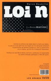 Loi n - 4ème de couverture - Format classique