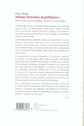 Articles litteraires et politiques vol1 - 4ème de couverture - Format classique