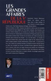 Les grandes affaires de la Ve République - 4ème de couverture - Format classique