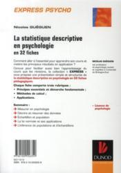 La statistique descriptive en psychologie ; des principes aux applications (2e édition) - 4ème de couverture - Format classique