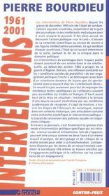 Interventions 1961-2001 - 4ème de couverture - Format classique