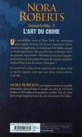 Lieutenant Eve Dallas T.25 ; l'art du crime - 4ème de couverture - Format classique