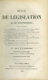 REVUE DE LÉGISLATION ET DE JURISPRUDENCE; 12ème année, Nouvelle coll., Année 1846, t. III (septembre - décembre 1846) - Couverture - Format classique