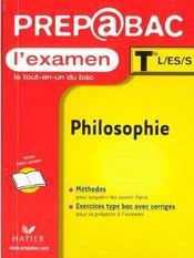 Examen ; Philosophie Terminale L-Es-S - Intérieur - Format classique