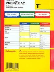 Examen ; Philosophie Terminale L-Es-S - 4ème de couverture - Format classique