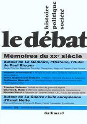 Revue Le Débat N.122 ; mémoires du XX siècle - Intérieur - Format classique