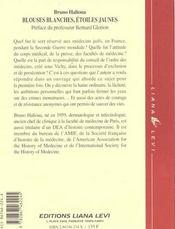 Blouses blanches, etoiles jaunes l'exclusion des medecins juifs en france sous l'occupation - 4ème de couverture - Format classique