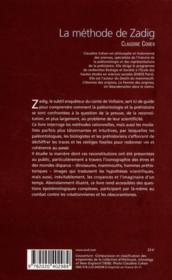 Méthode de Zadig ; la trace, le fossile, la preuve - 4ème de couverture - Format classique
