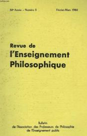 REVUE DE L'ENSEIGNEMENT PHILOSOPHIQUE, 30e ANNEE, N° 3, FEV.-MARS 1980 - Couverture - Format classique