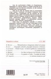 Revue Geographie Et Cultures N.21 - 4ème de couverture - Format classique