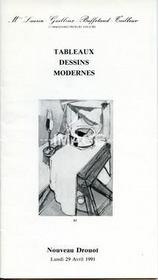 TABLEAUX DESSINS MODERNES. [AZUZ. PASCIN. CALMETTES. CIVET. COLLOMB. FOUGERON. GALLARD. GOUGEROT. MOISSET. PALLUT ]. 29/04/1991. (Poids de 52 grammes) - Intérieur - Format classique