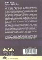 Anges de berlin - 4ème de couverture - Format classique