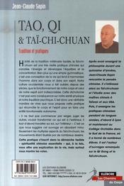 Tao, qi et taï-chi-chuan ; tradition et pratiques - 4ème de couverture - Format classique